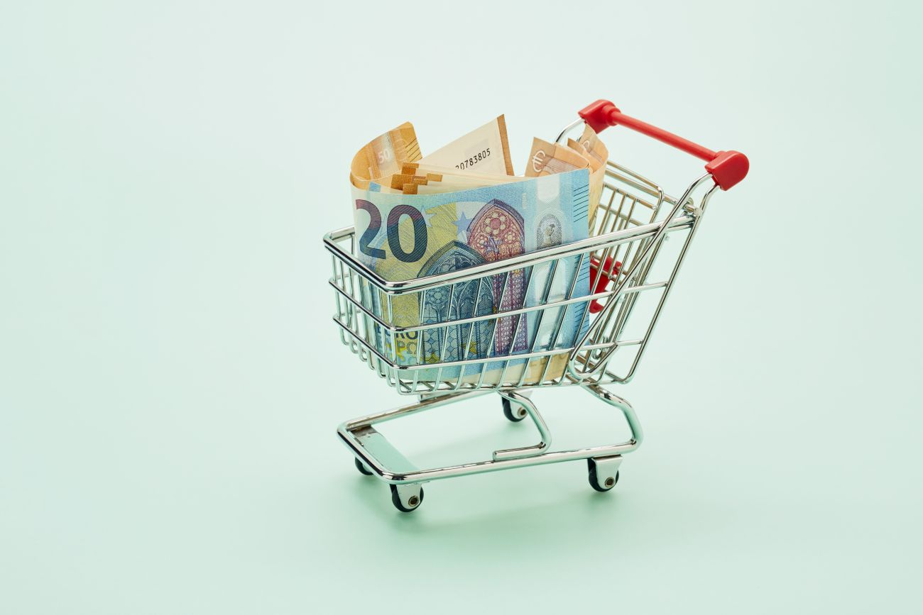 Grocery Shopping Cart Full of Money