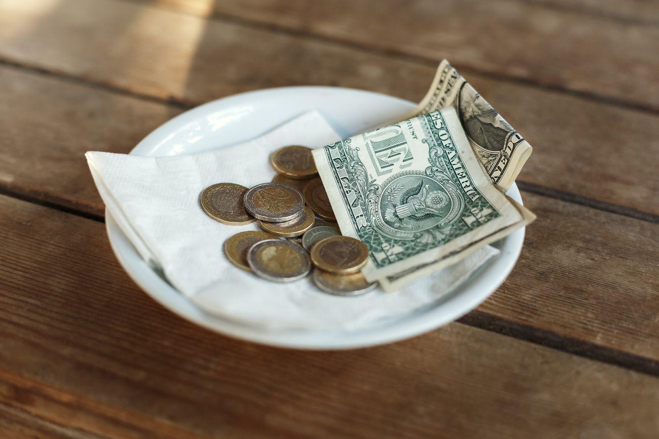 Tips Left at Restaurant Table
