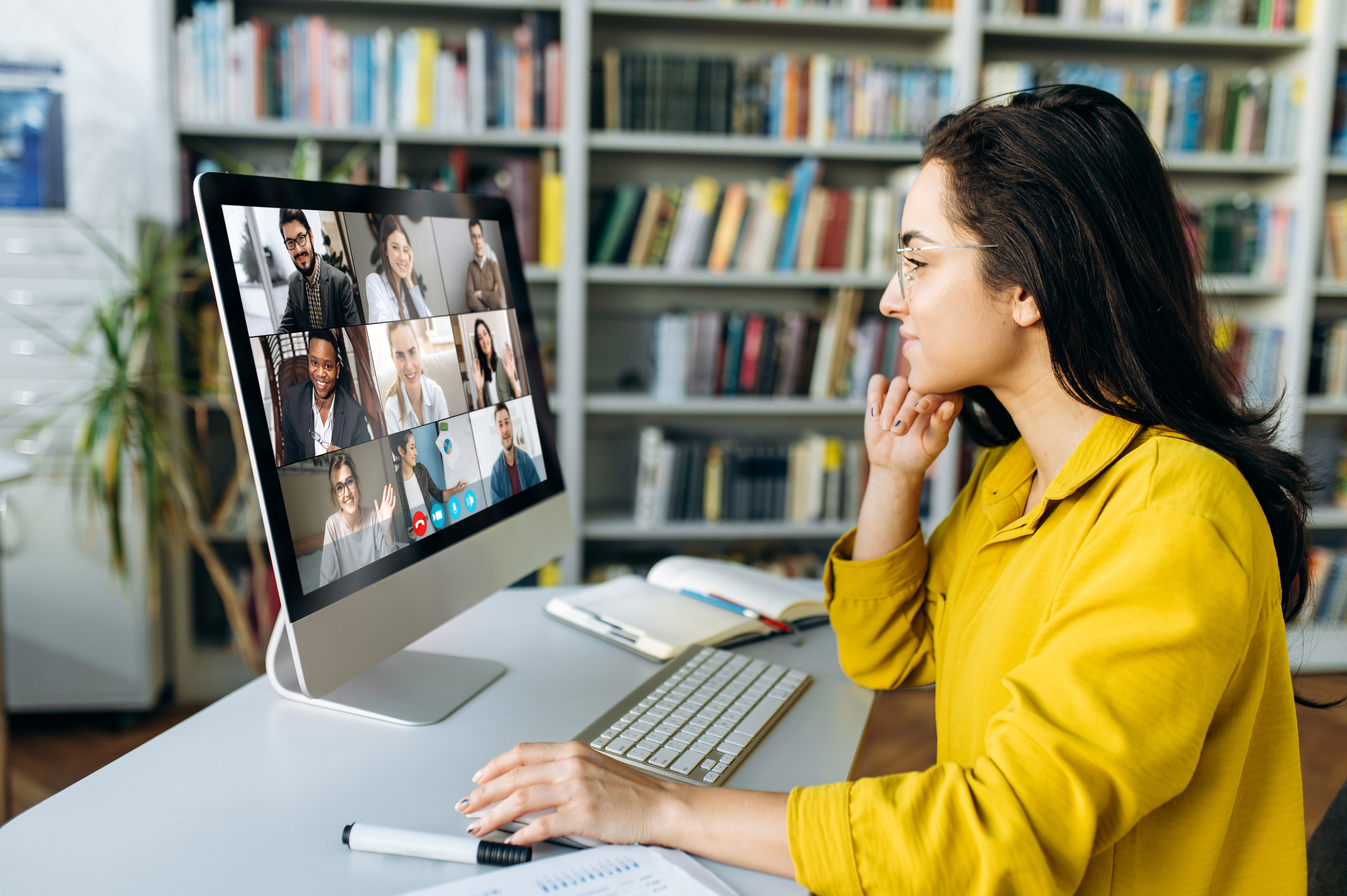 woman in an online focus group