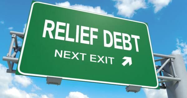 Debt Relief Next Exit Highway Sign