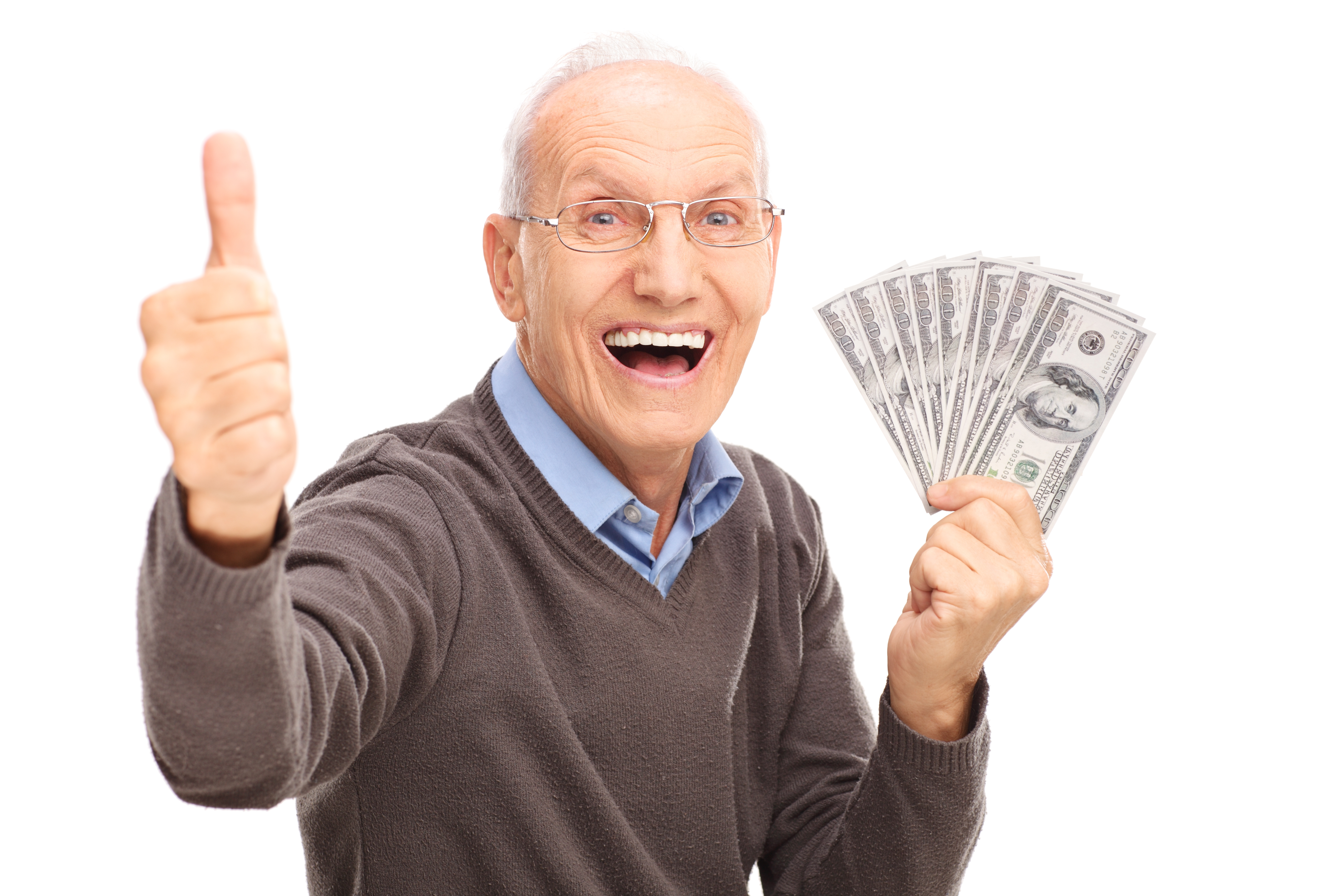 Man Celebrating Making Money with Cash in Hand