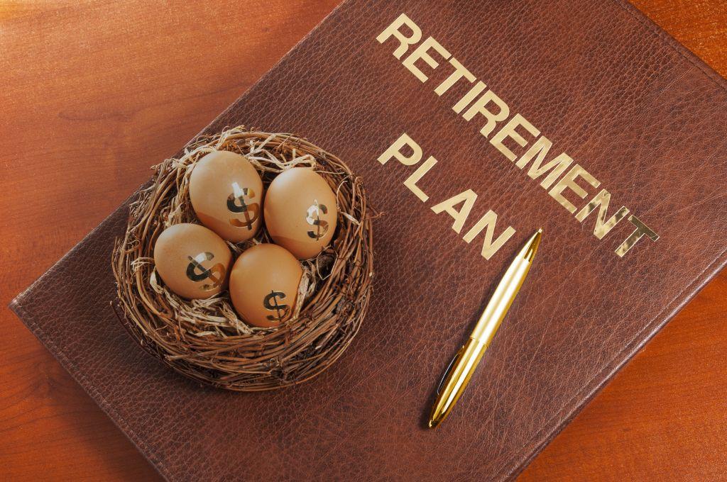 Retirement Plan Folder with Dollar Eggs in Basket