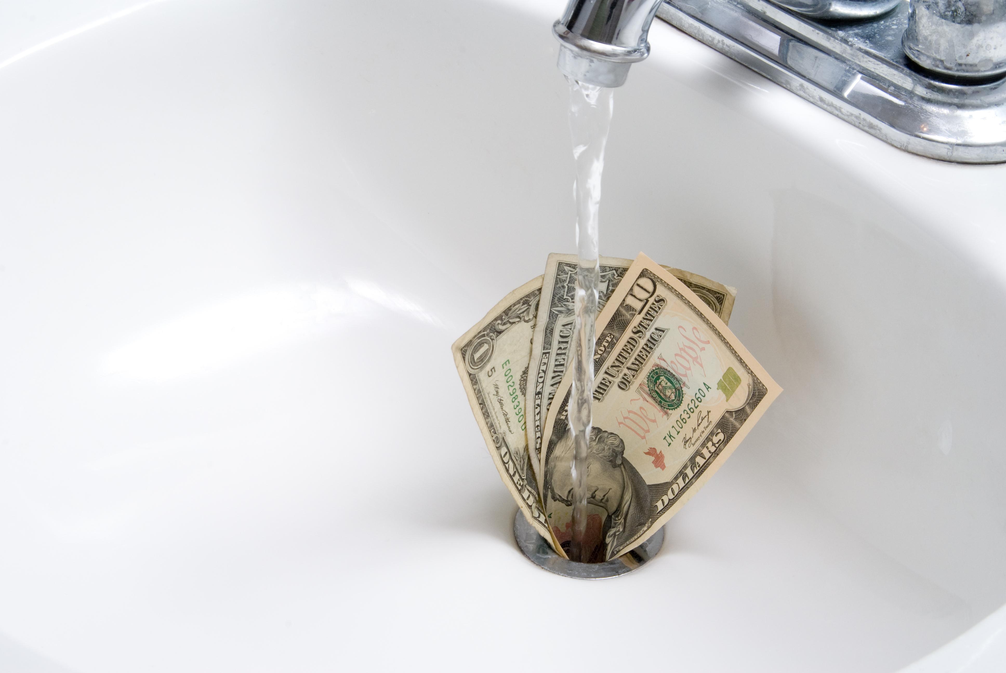 Money Down a Sink Drain