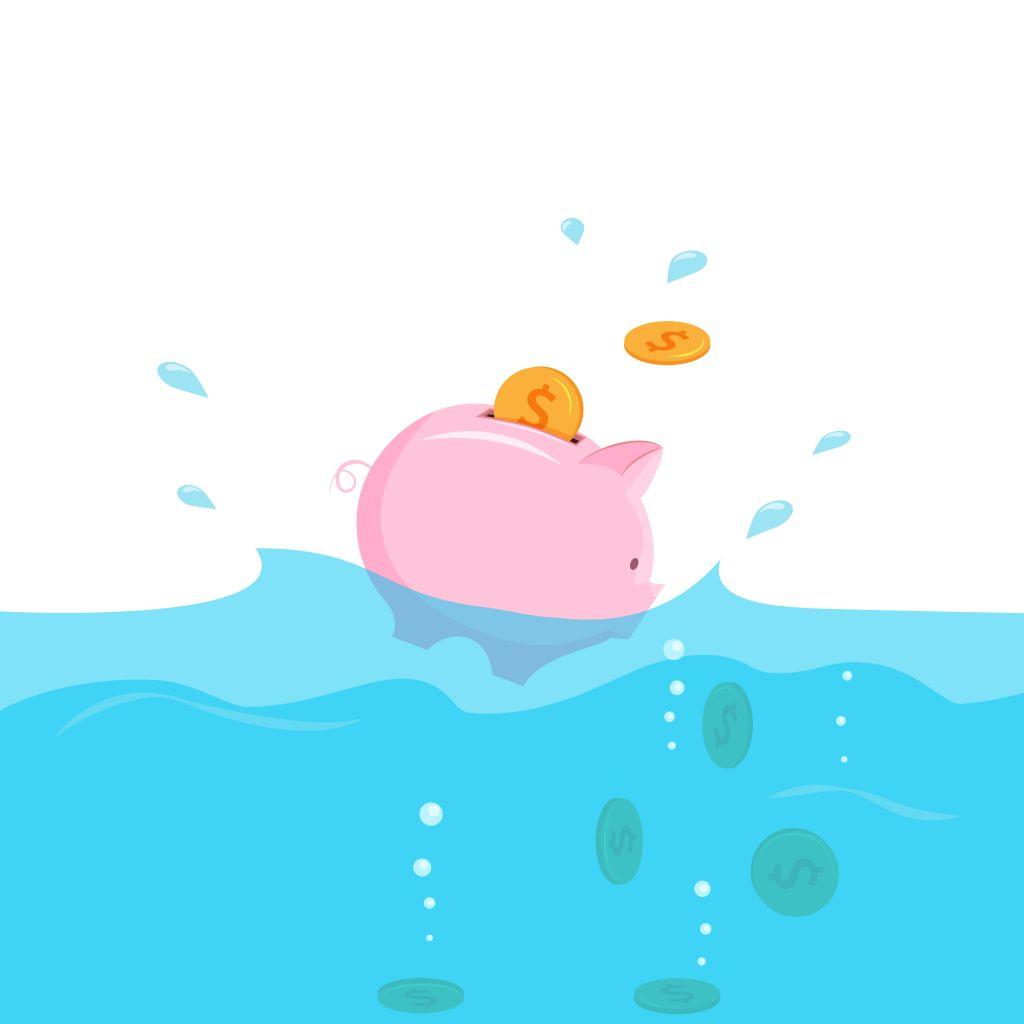 Sinking Piggy Bank Full of Money