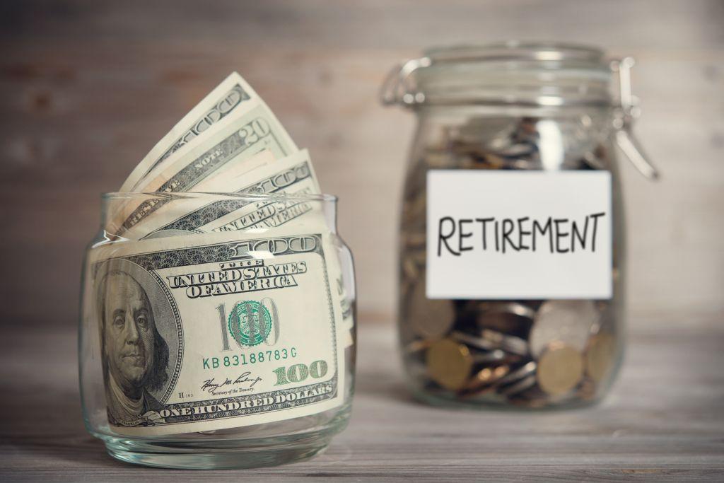 Jars of Money for Retirement Fund