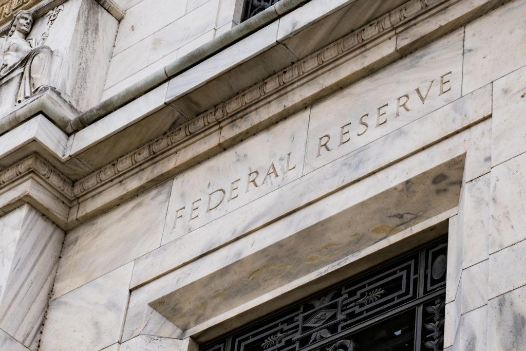Marble Building Carved with Federal Reserve