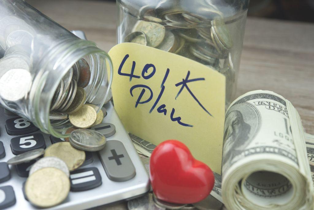 401K Savings Coin Jar and Money Stack