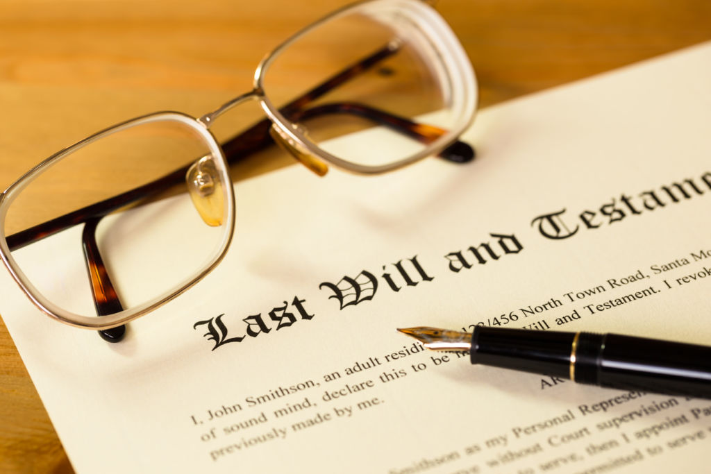 Last Will and Testament Document on Table