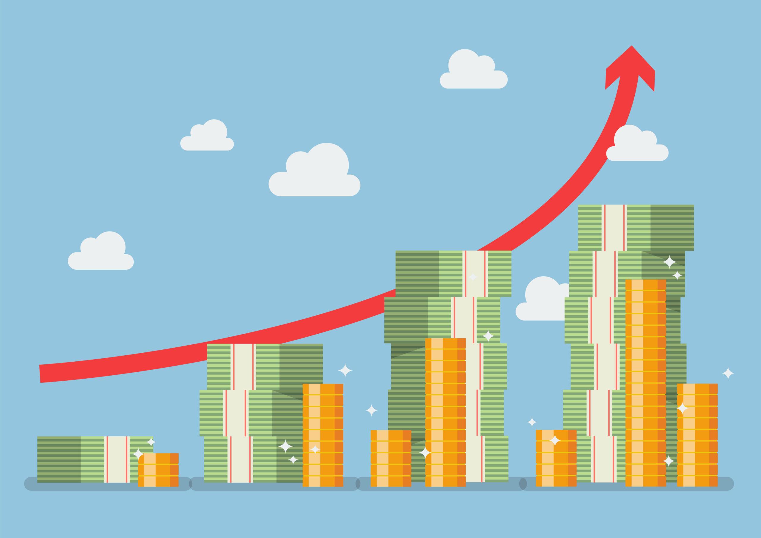 Money Stacks and Upward Trend Chart