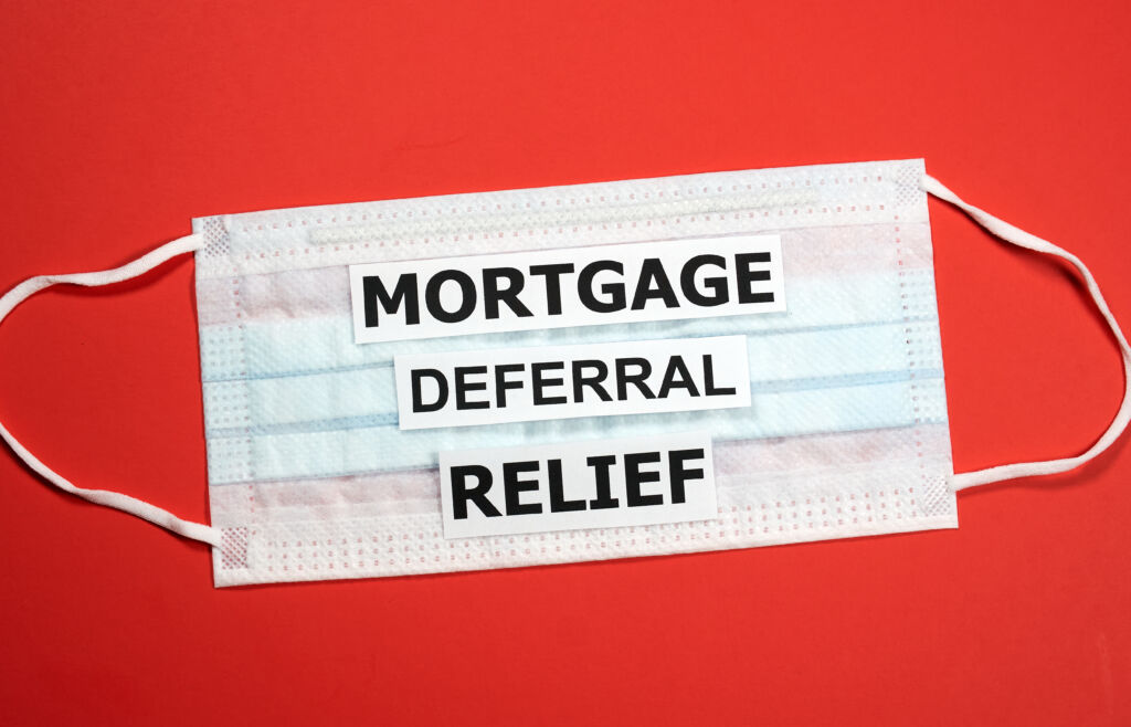 Face Mask with Mortgage Deferral Relief Written On It
