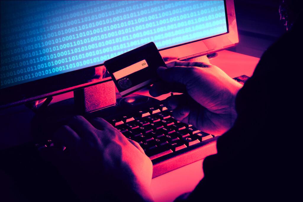 Hacker Stealing Credit Card Identity