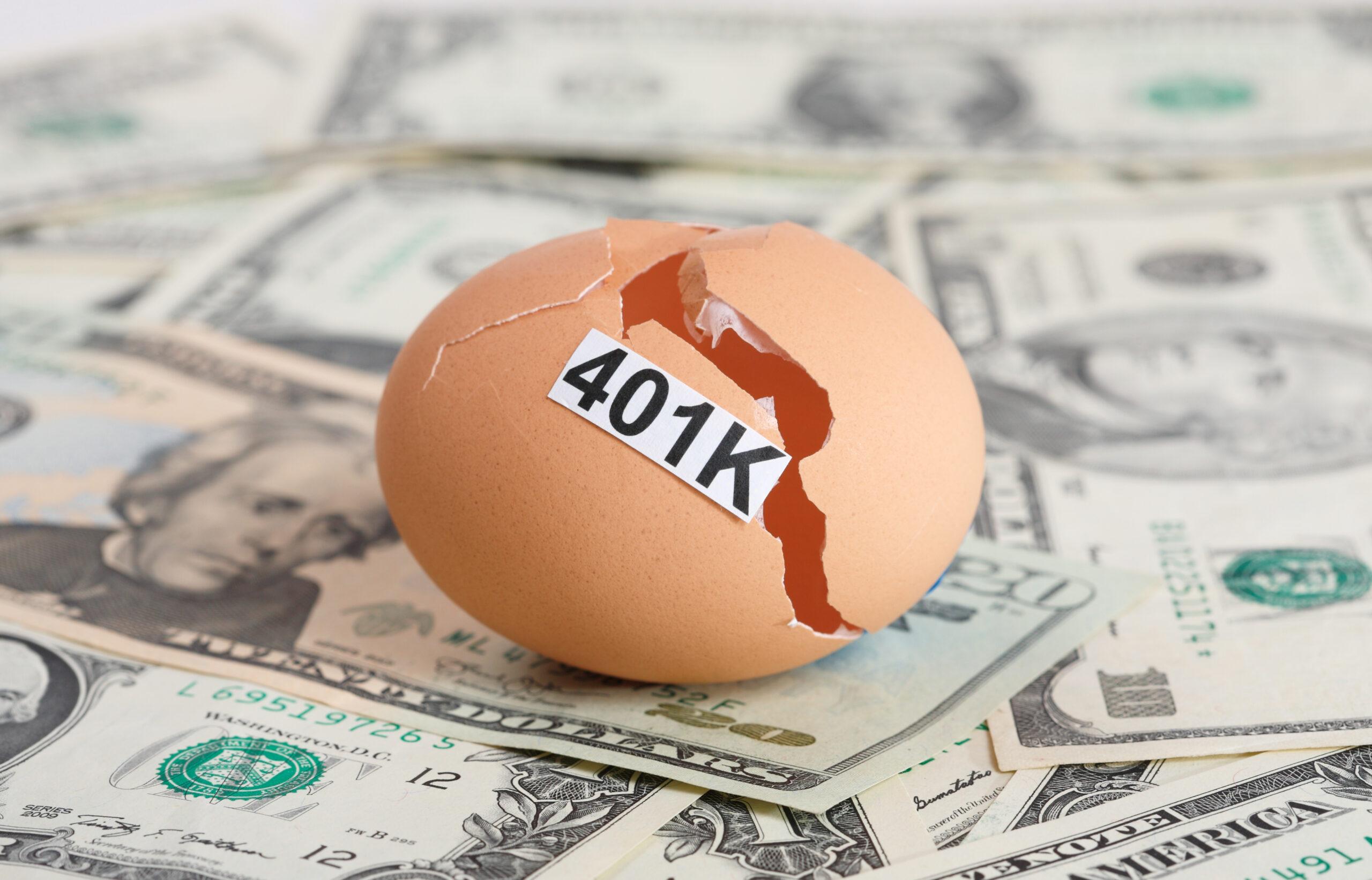 401K Written on Cracked Egg on Cash