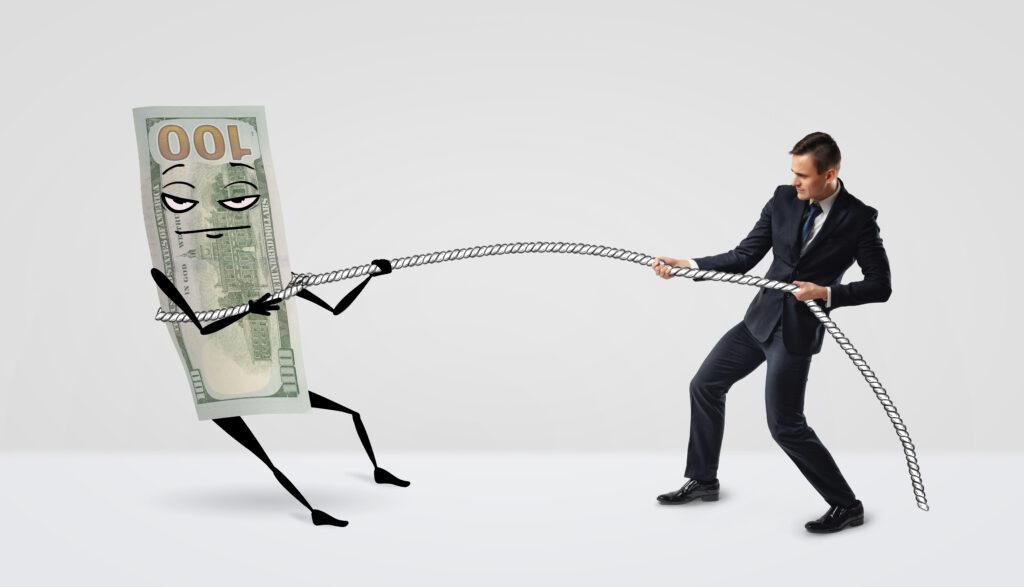 Man Lassoing a Hundred Dollar Bill