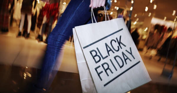 Shopping Mall with Black Friday Bag