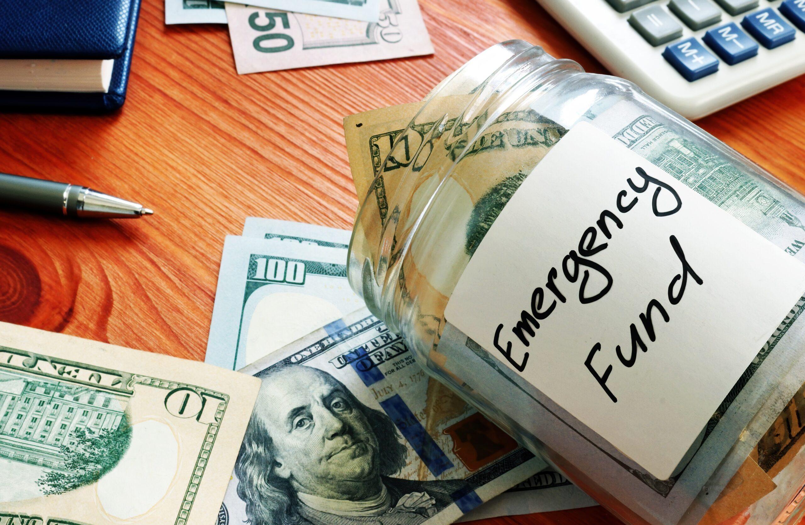 Money Jar Labeled Emergency Fund