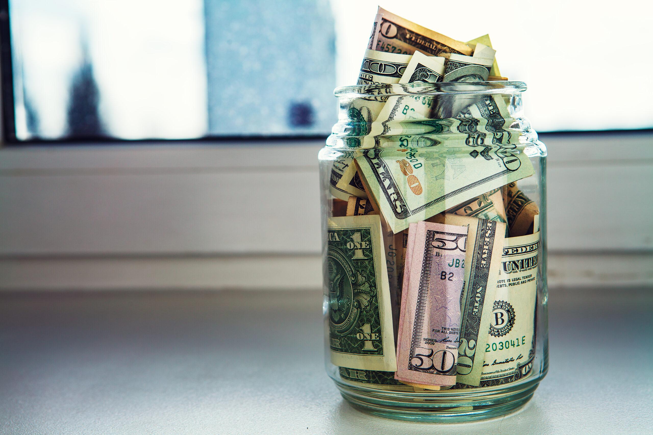Jar of Money for Emergency Fund