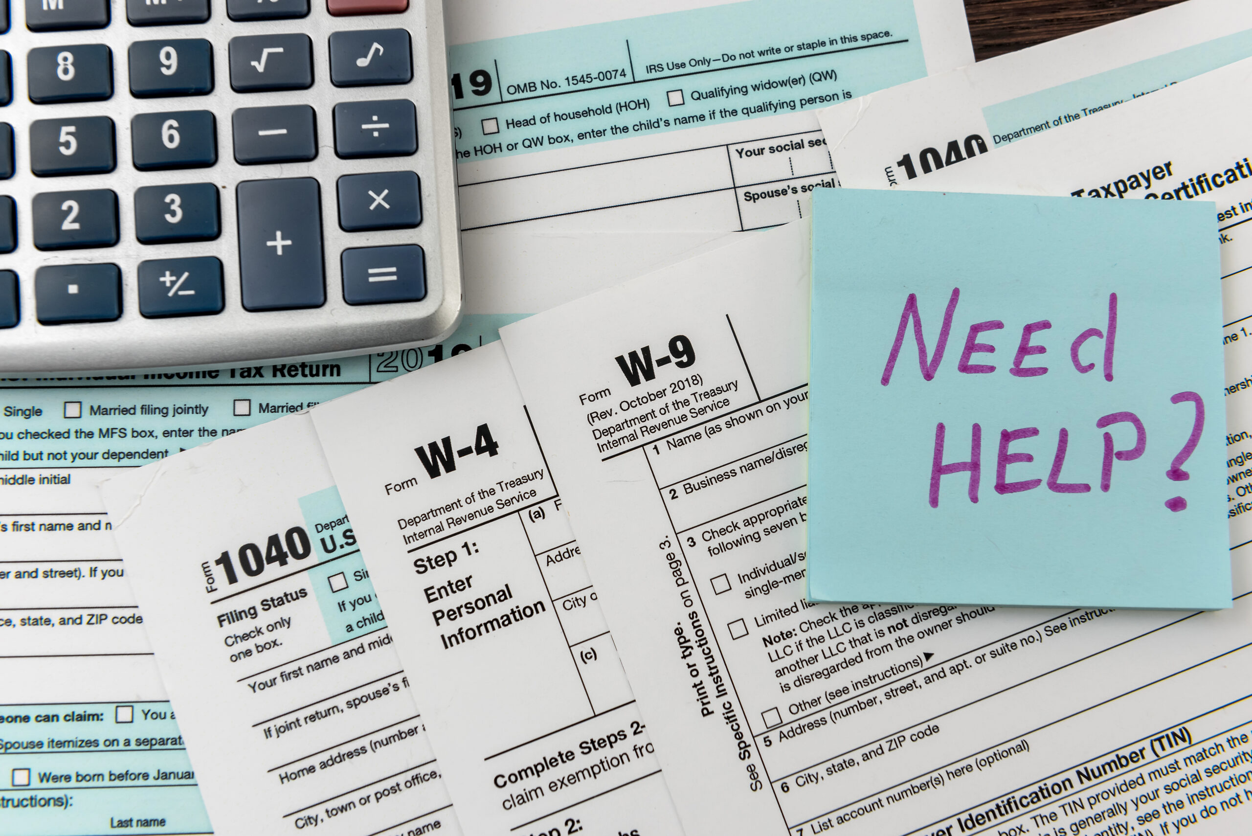 Income Tax Forms W-2 1040 W-4 Forms