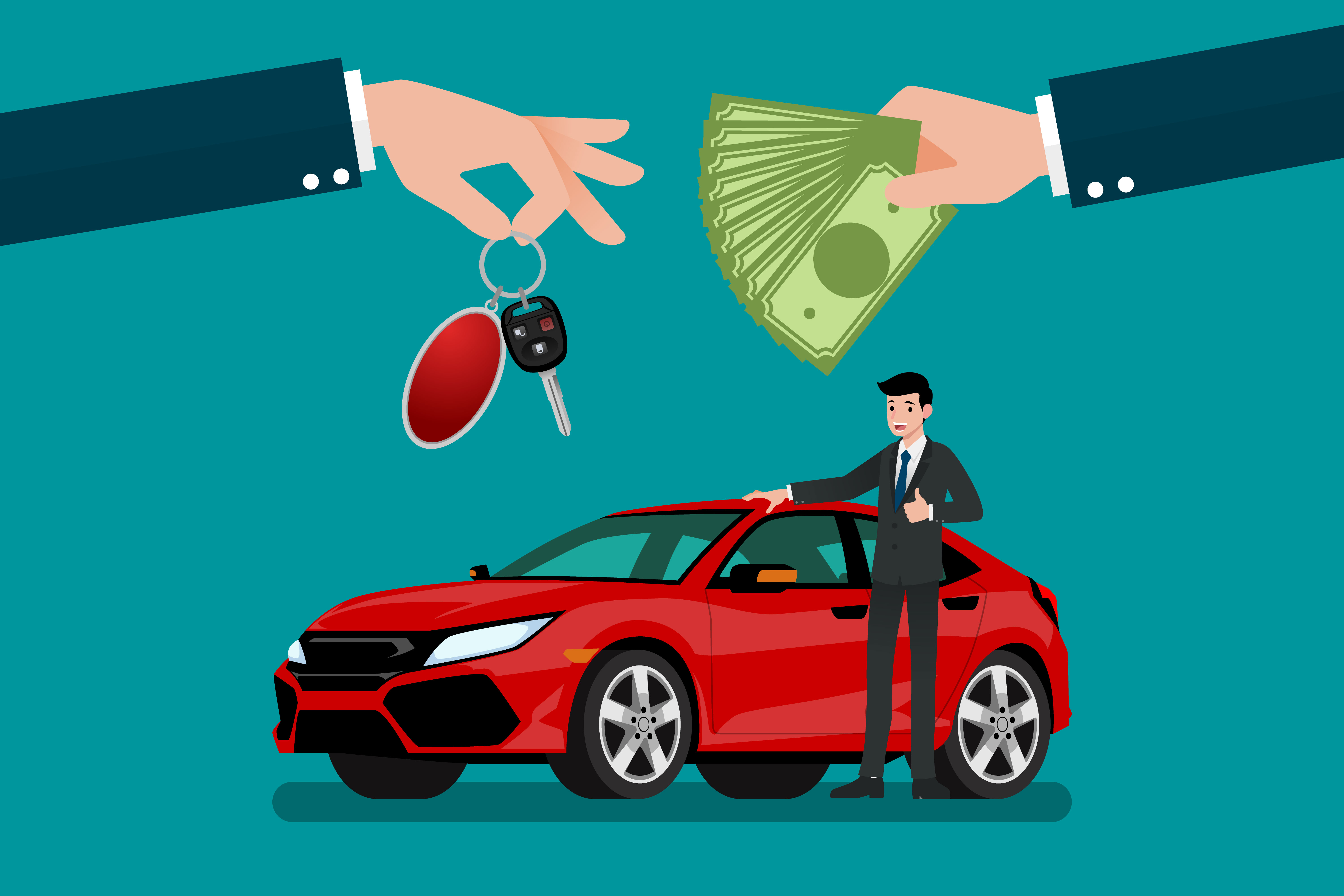 Vector illustration of paying cash for a car