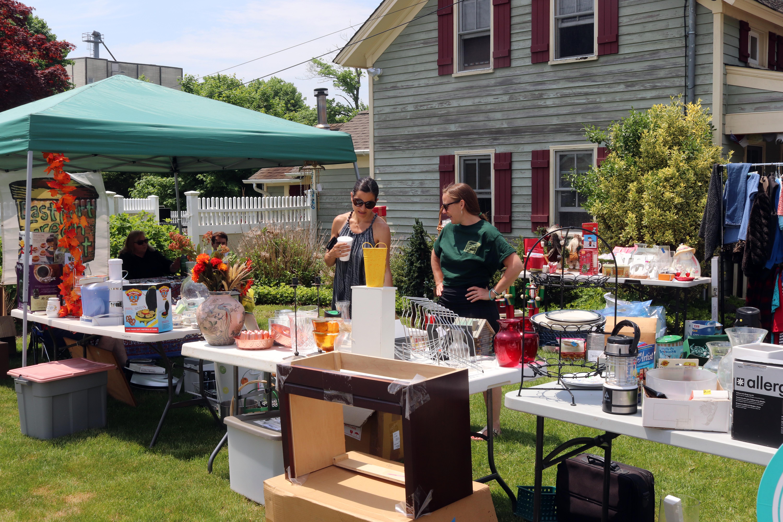 garage sale in front yard