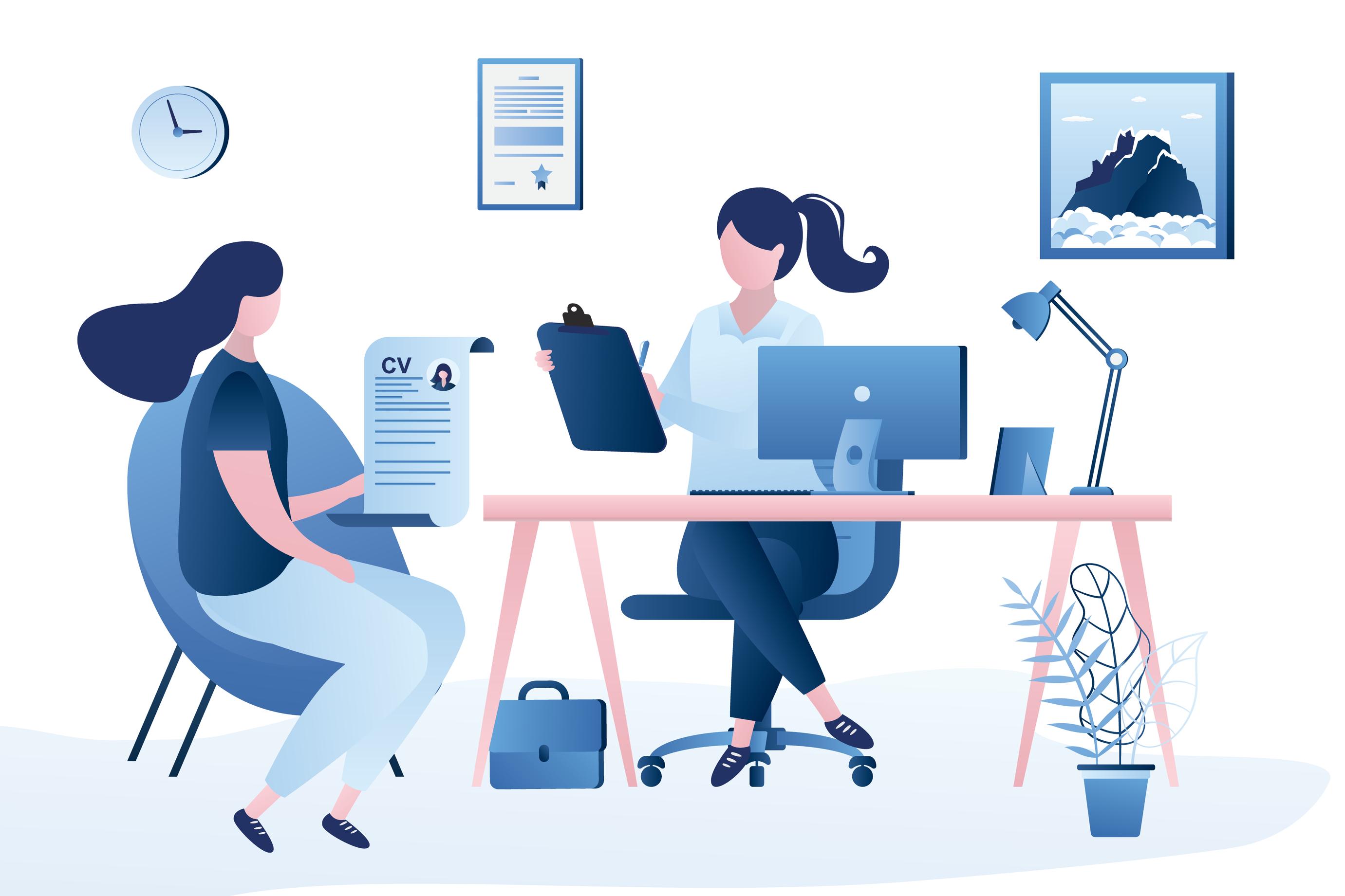 Vector image of job interview