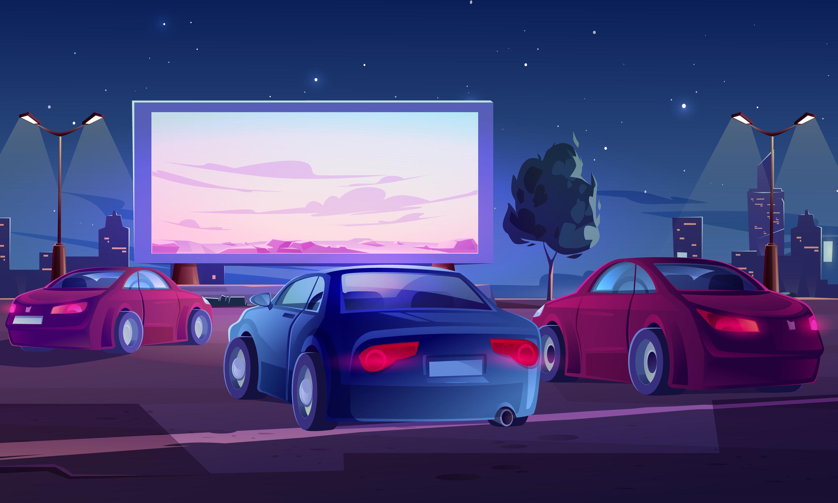 Drive in movie vector illustration