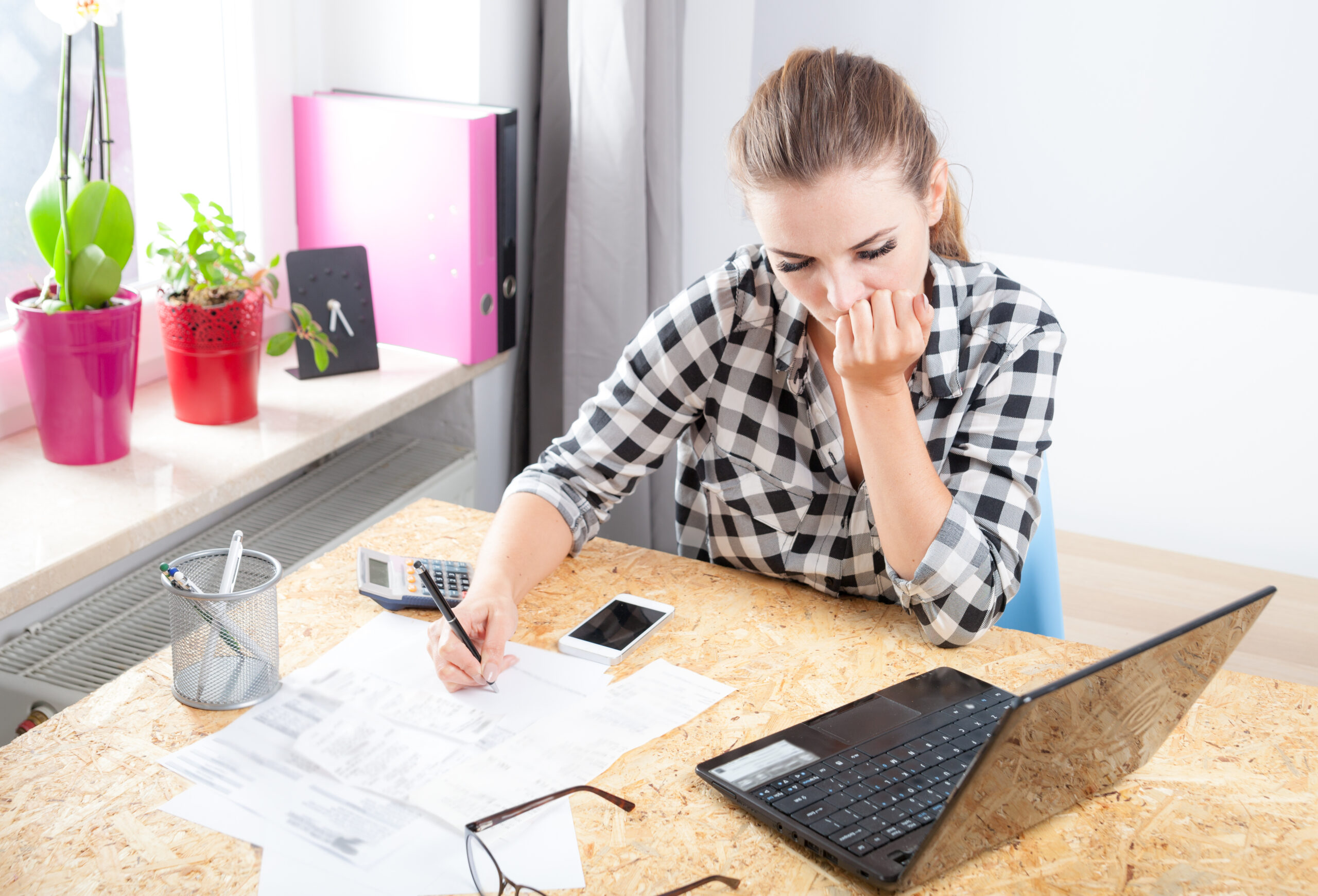 Woman making a budget