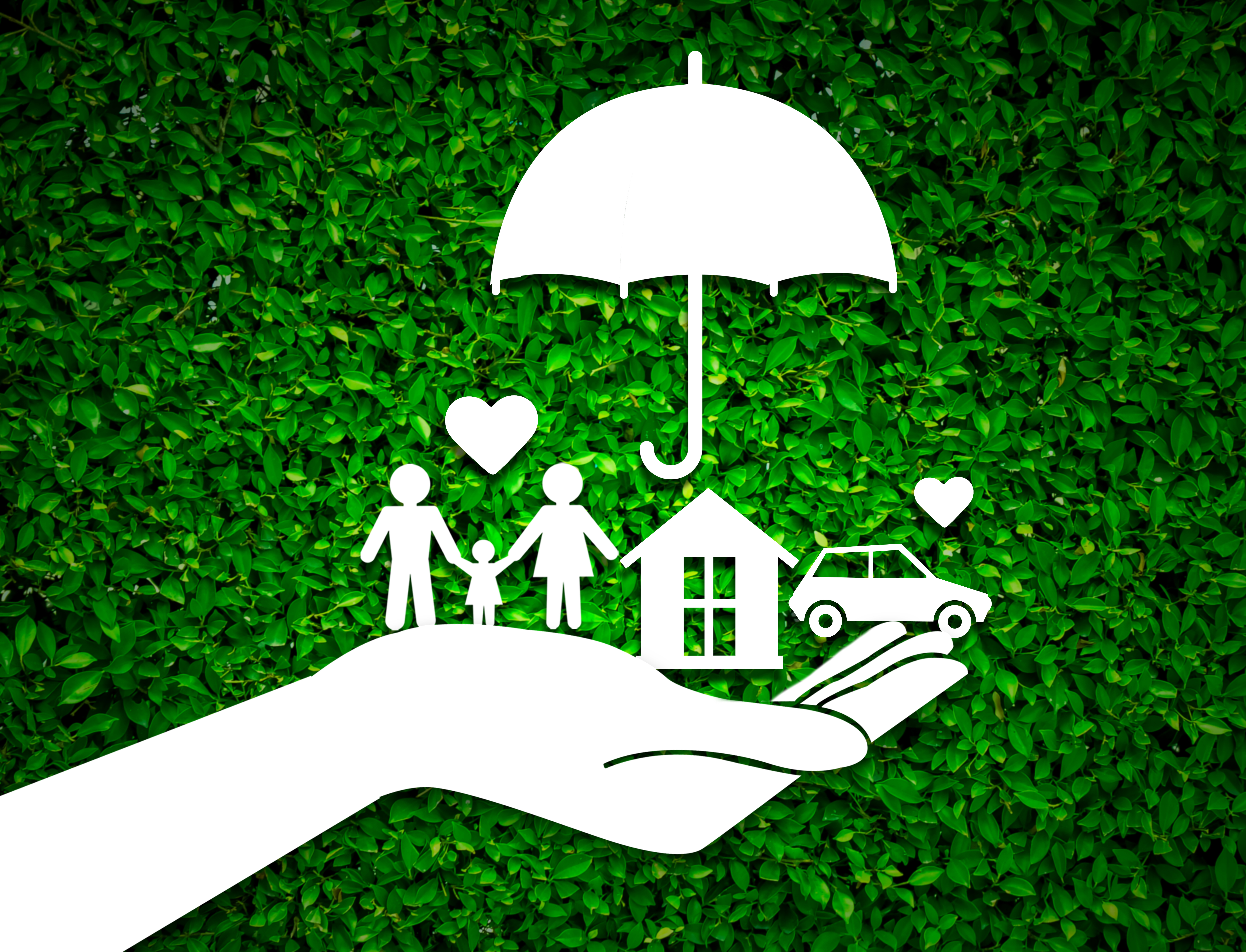 Insurance concept image protect house car family