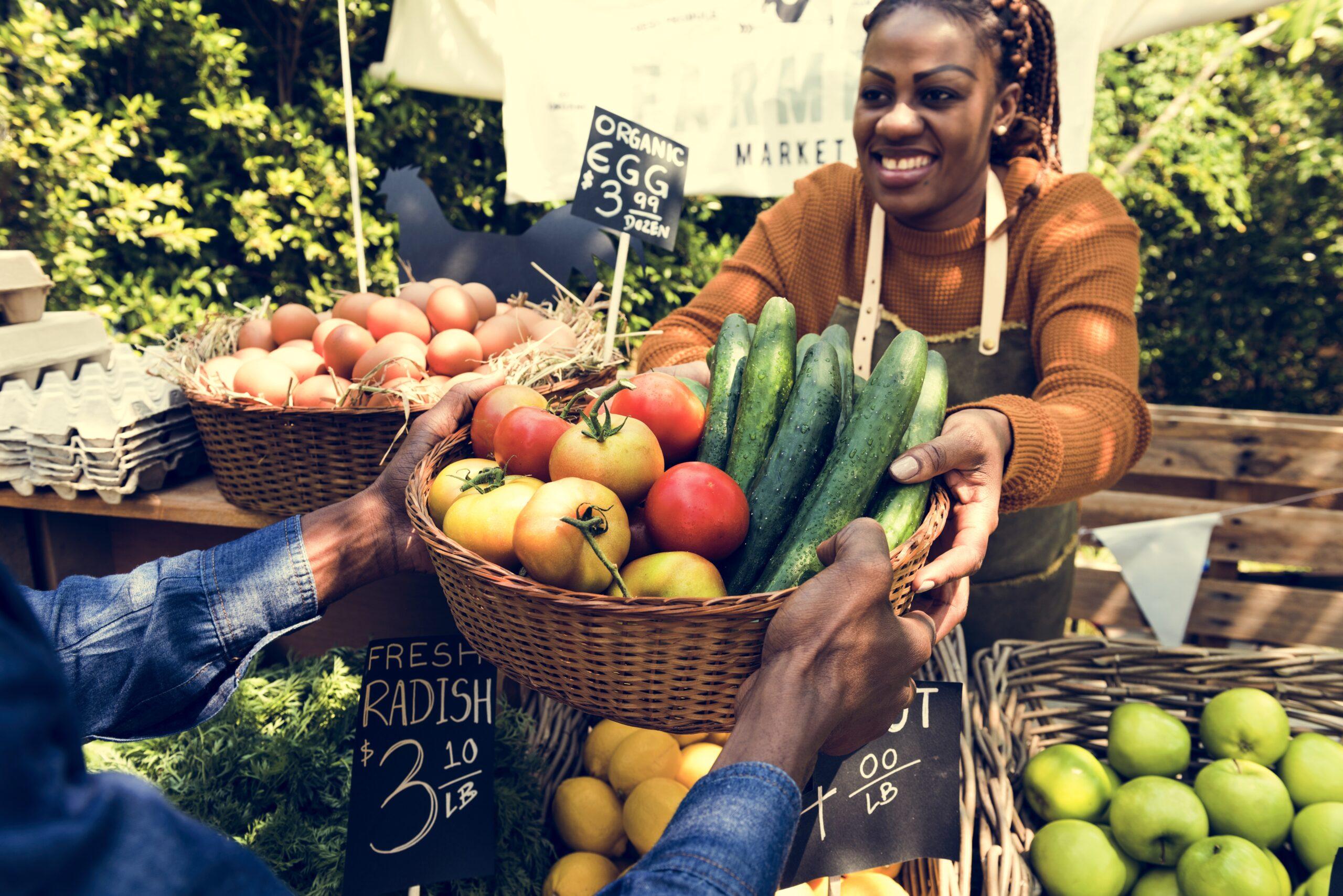 Farmers' Market seller vegetables