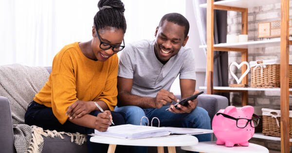 Young couple managing their finances