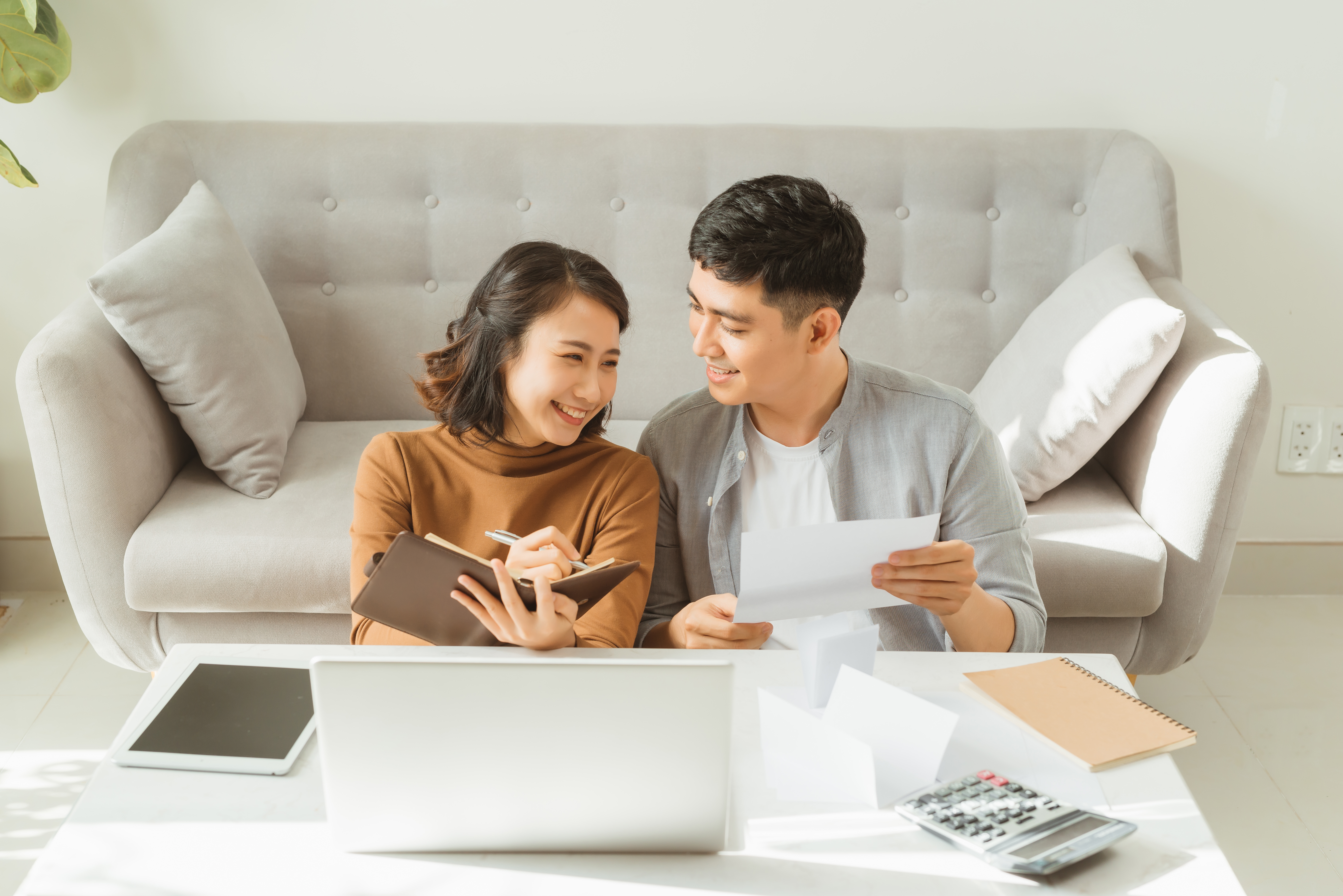 Couple planning their financial future