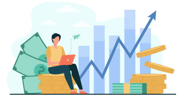 Vector illustration of stock investing