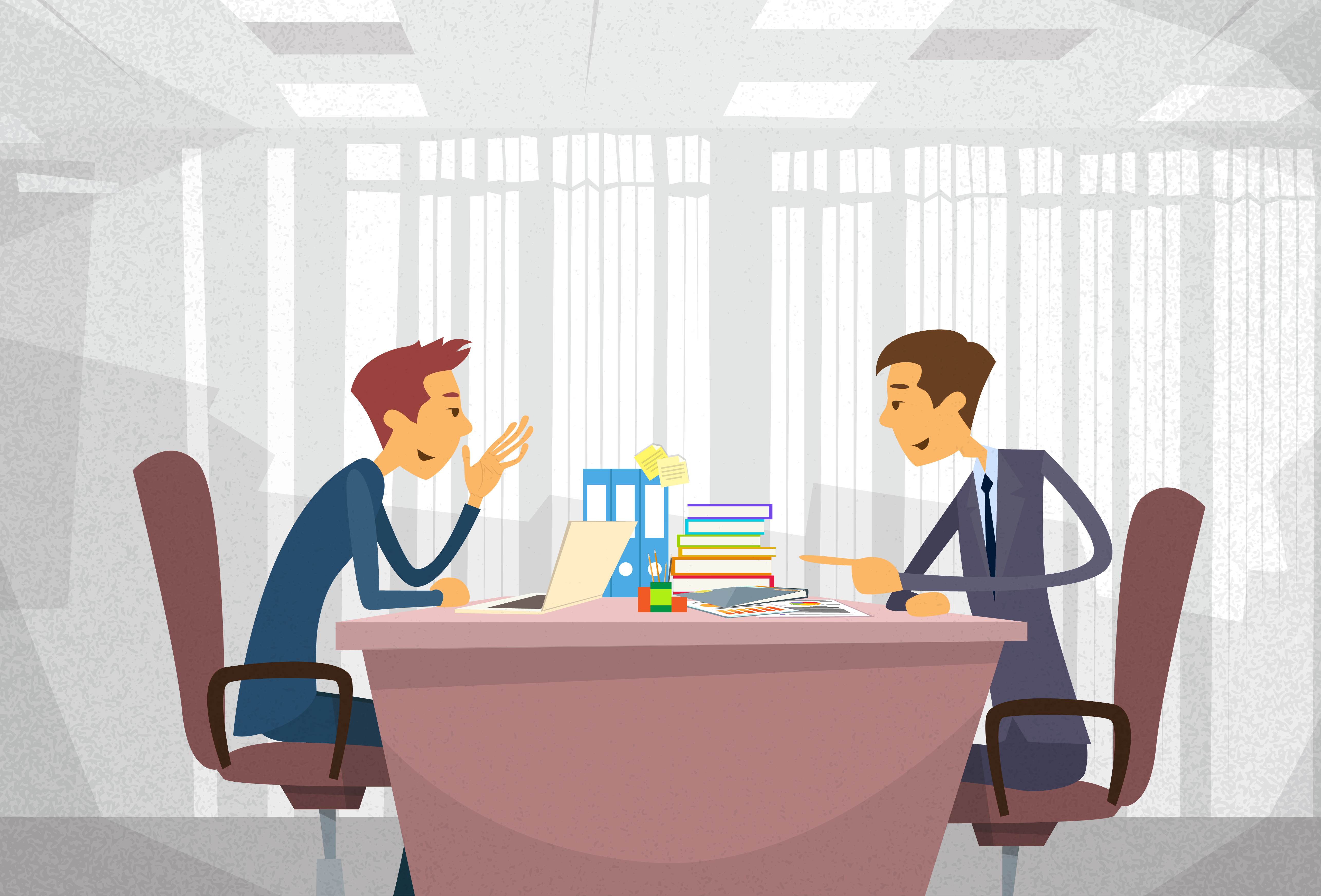 vector illustration of work meeting with boss