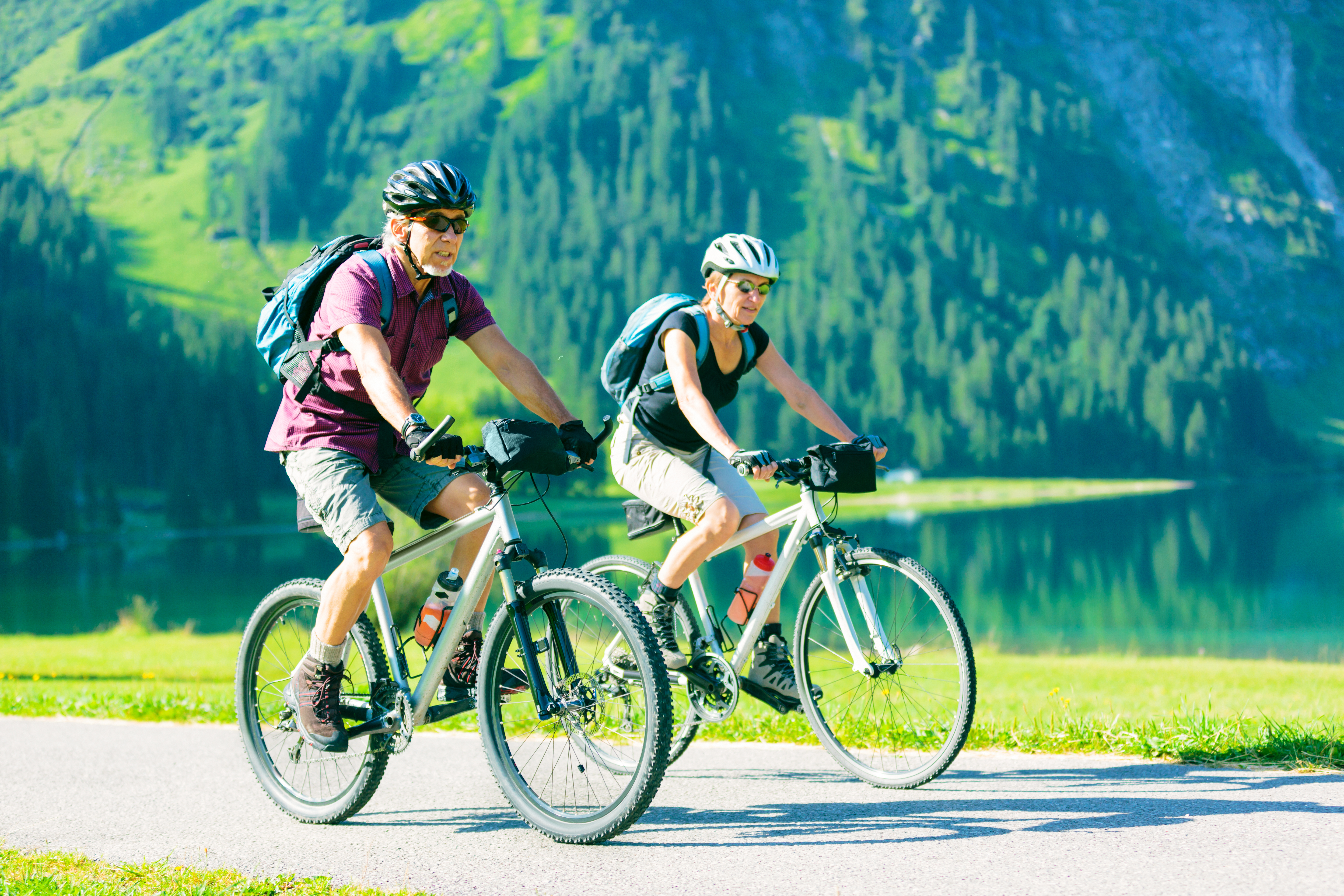 man and woman working out with a bike ride