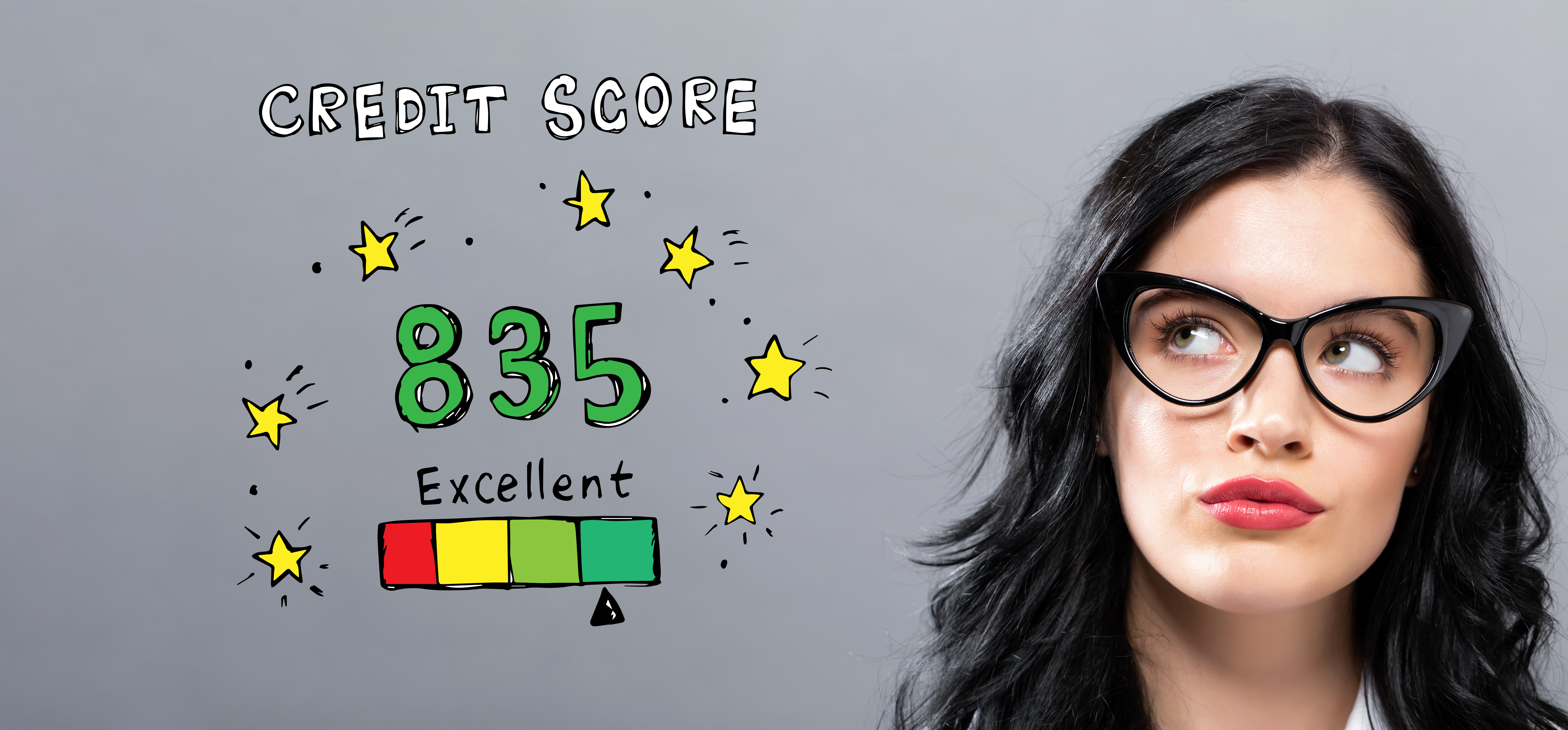 Young woman with excellent credit score
