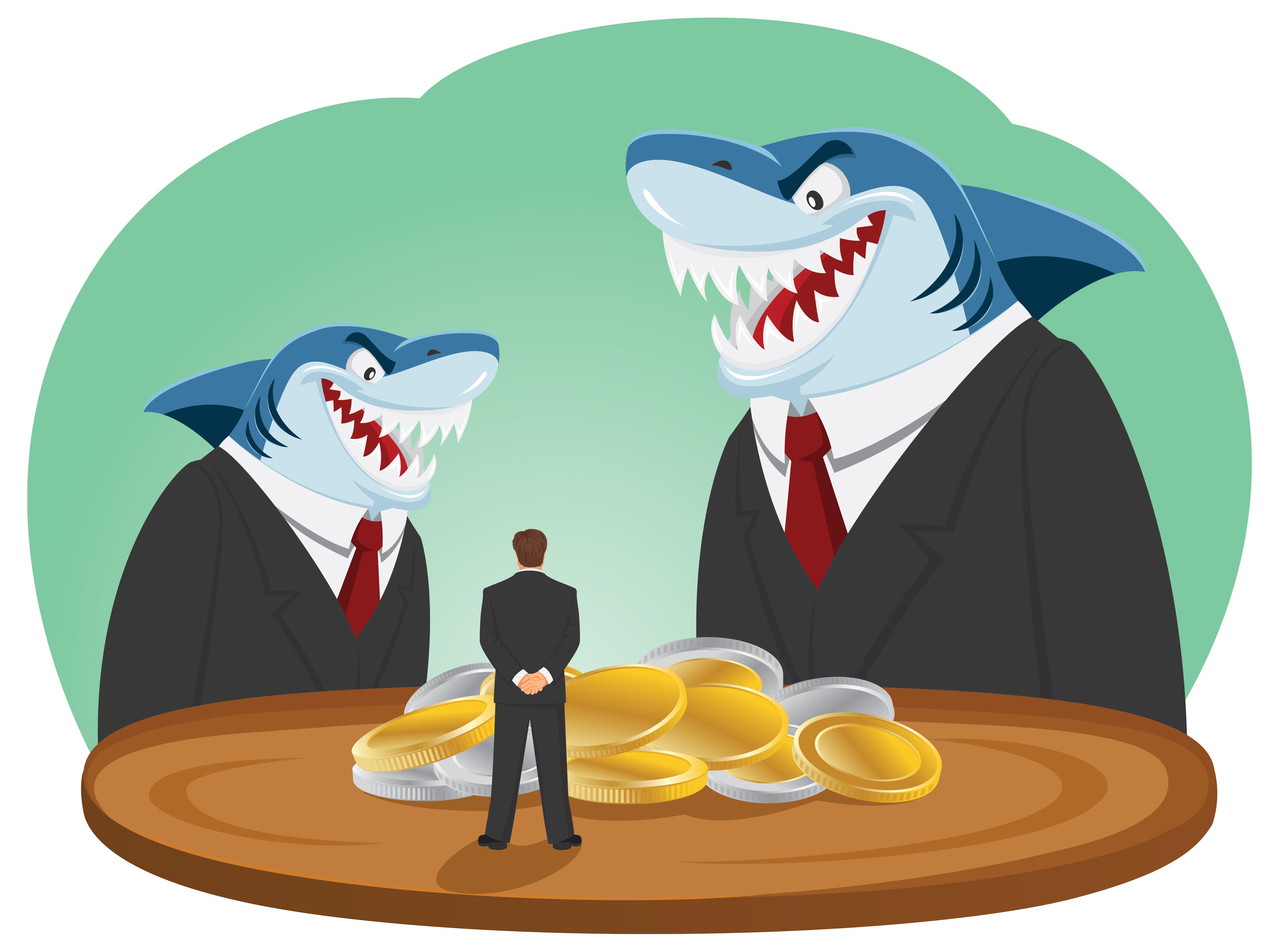 Vector illustration of loan shark predatory lenders