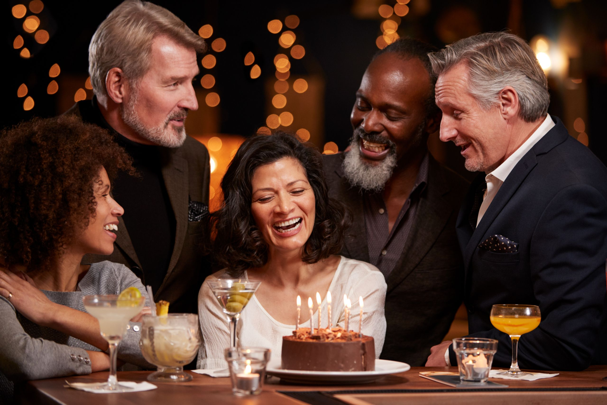 Woman Celebrating 40th Birthday with Friends