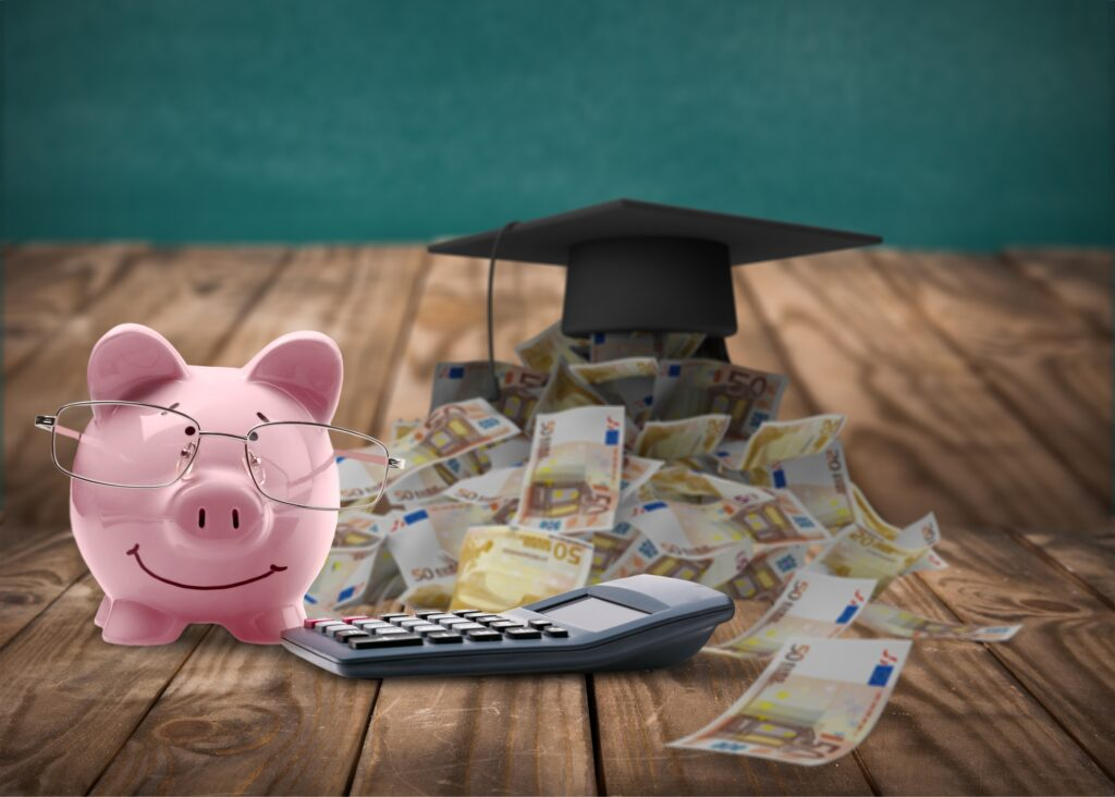 Piggy Bank with Money and Calculator
