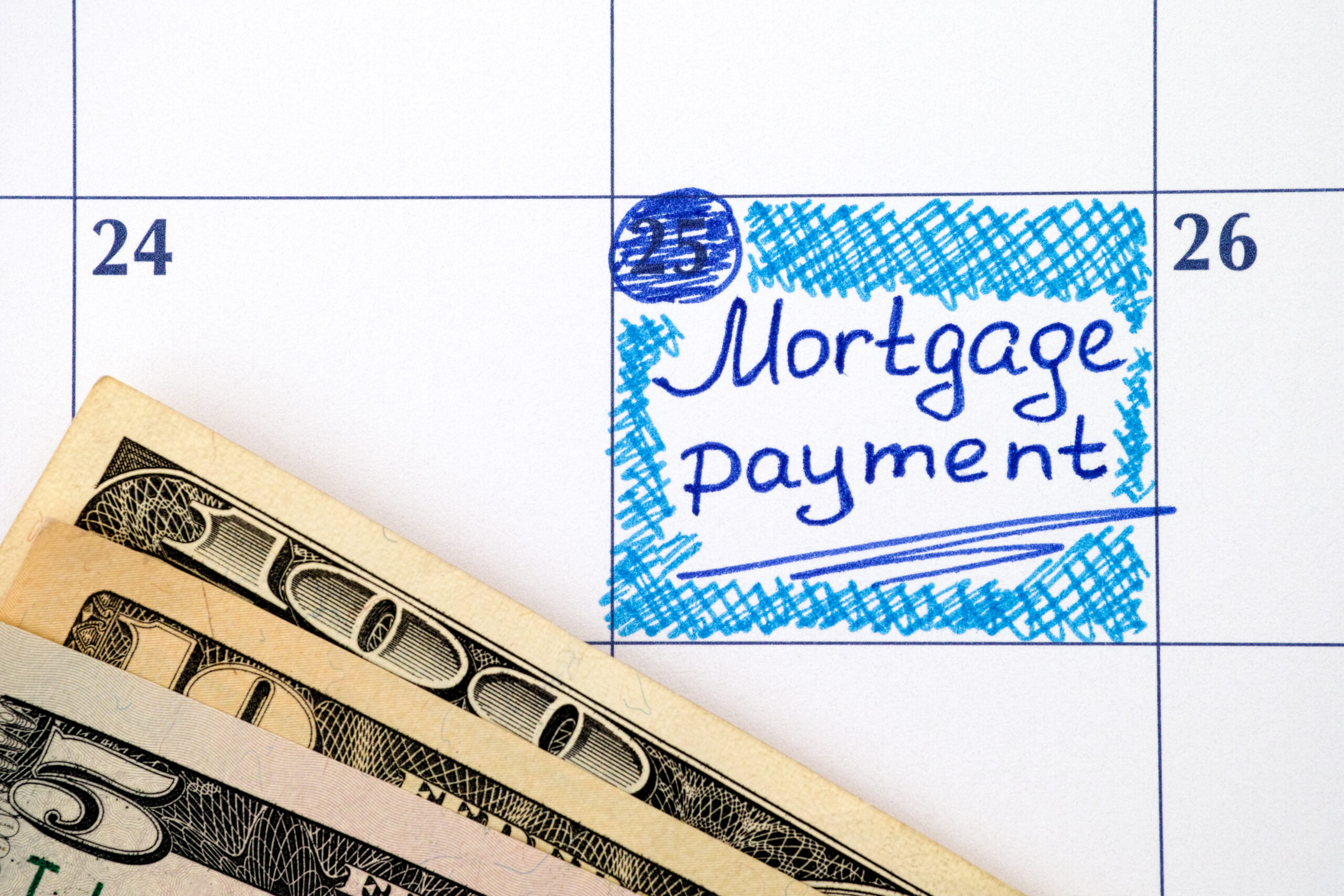 Mortgage Payment Label on Calendar with Cash
