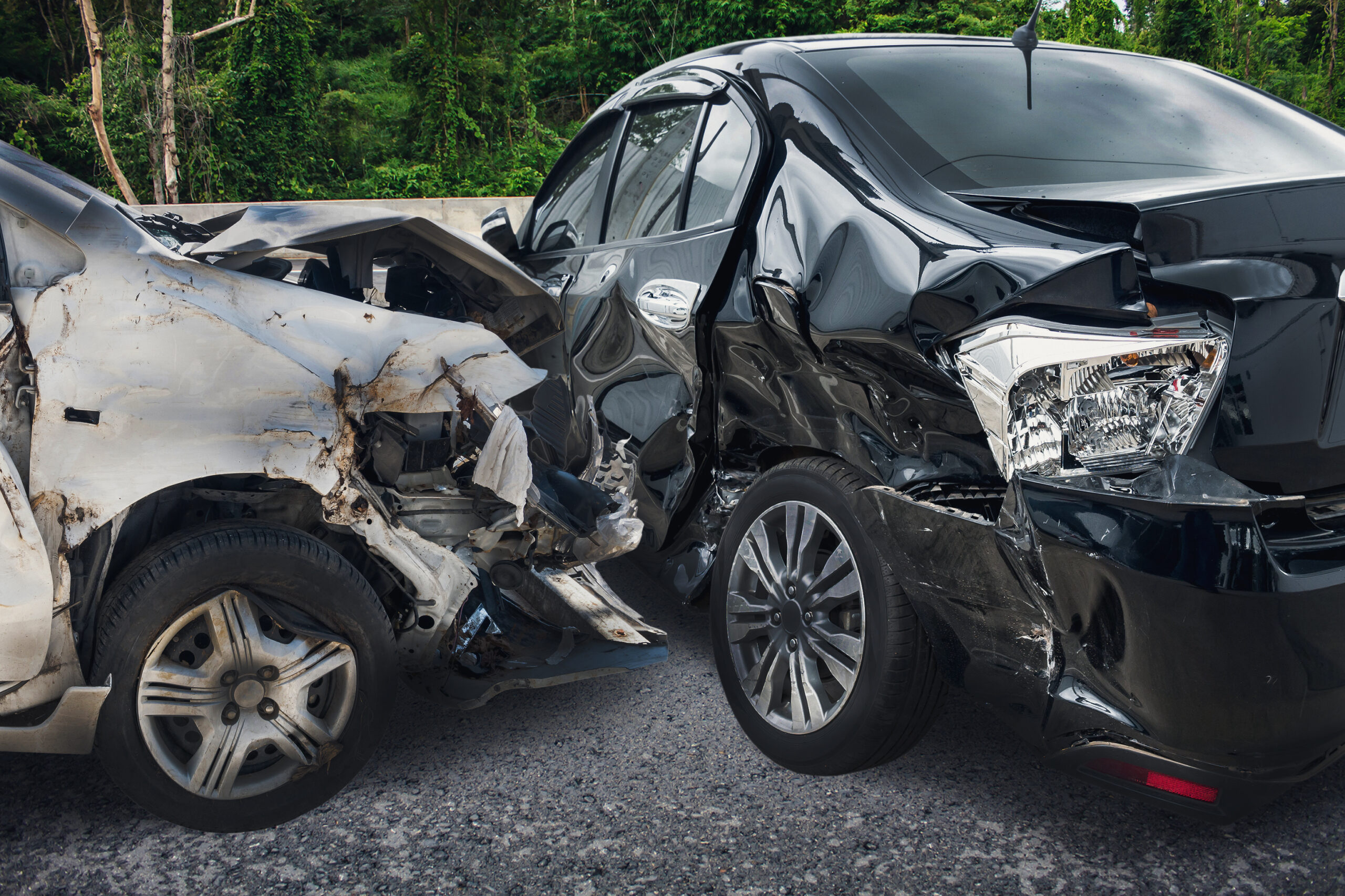 Car accident between two vehicles