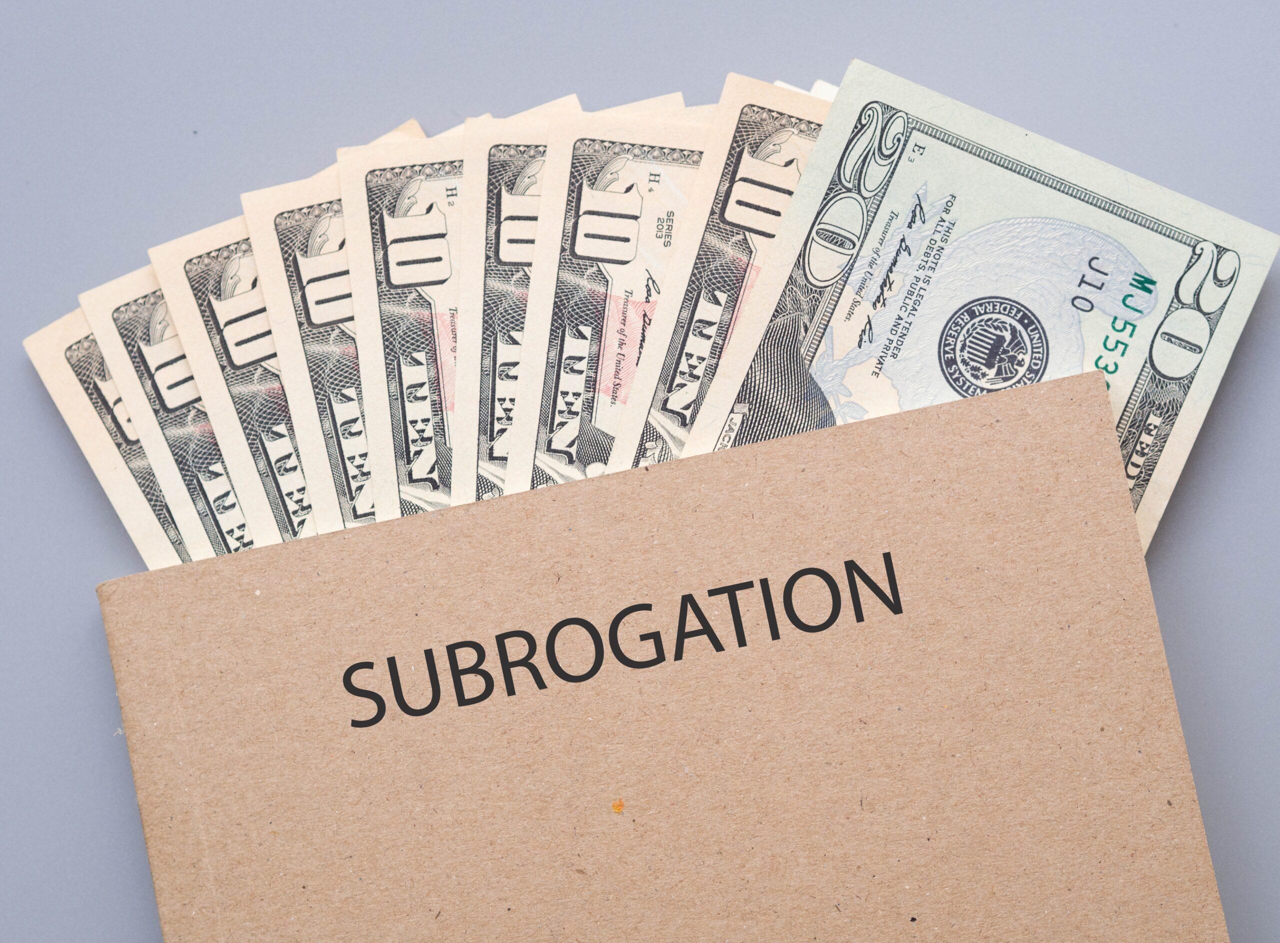 Cash in Tan Folder Labeled Subrogation