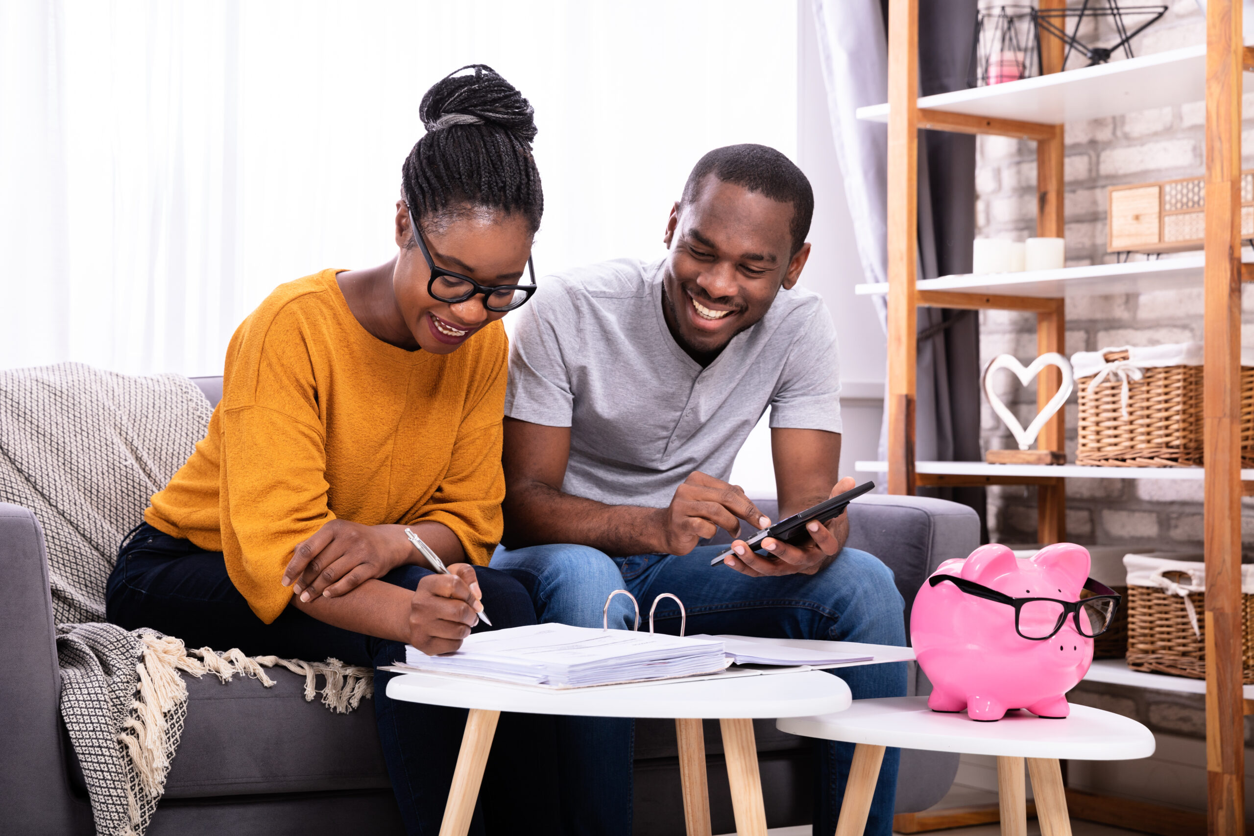 Couple planning their finances